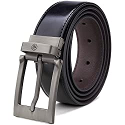 """Tonly Monders Men's Reversible Leather Belt For Jeans Black (Waist Size 28""""-36"""", Buckle A - Plating)"""