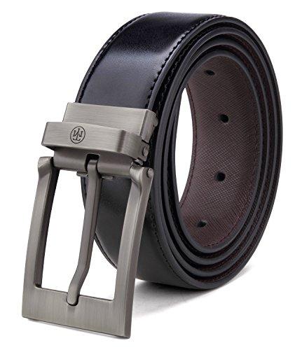 (Tonly Monders Men's Reversible Leather Belt for Jeans Black (Waist 52