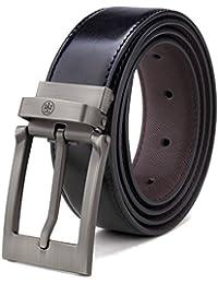 Men's Reversible Leather Belt For Jeans Black