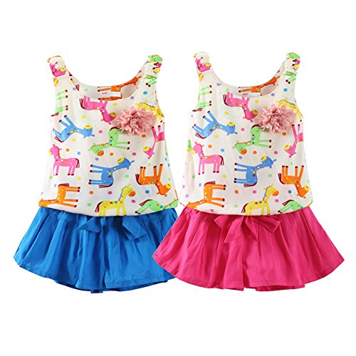 e30fee53d98a Mud Kingdom Little Girls Outfits Summer Holiday Pony Flower Tank Tops and  Short Sets