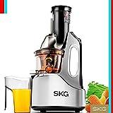 SKG Wide Chute Anti-Oxidation Slow Masticating Juicer (240W AC Motor, 60 RPMs, 4' Big Mouth) - Vertical Masticating Cold Press Juicer