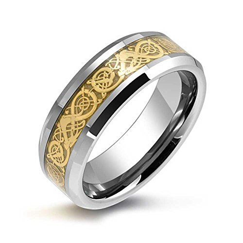 (Bling Jewelry Golden Silver Two Tone Celtic Knot Dragon Inlay Couples Wedding Band Tungsten Rings for Men for Women Comfort Fit 8MM)