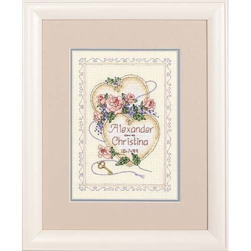 Dimensions Counted Cross Stitch Pair of Hearts Wedding Record for Newlyweds, 5'' W x 7'' H -