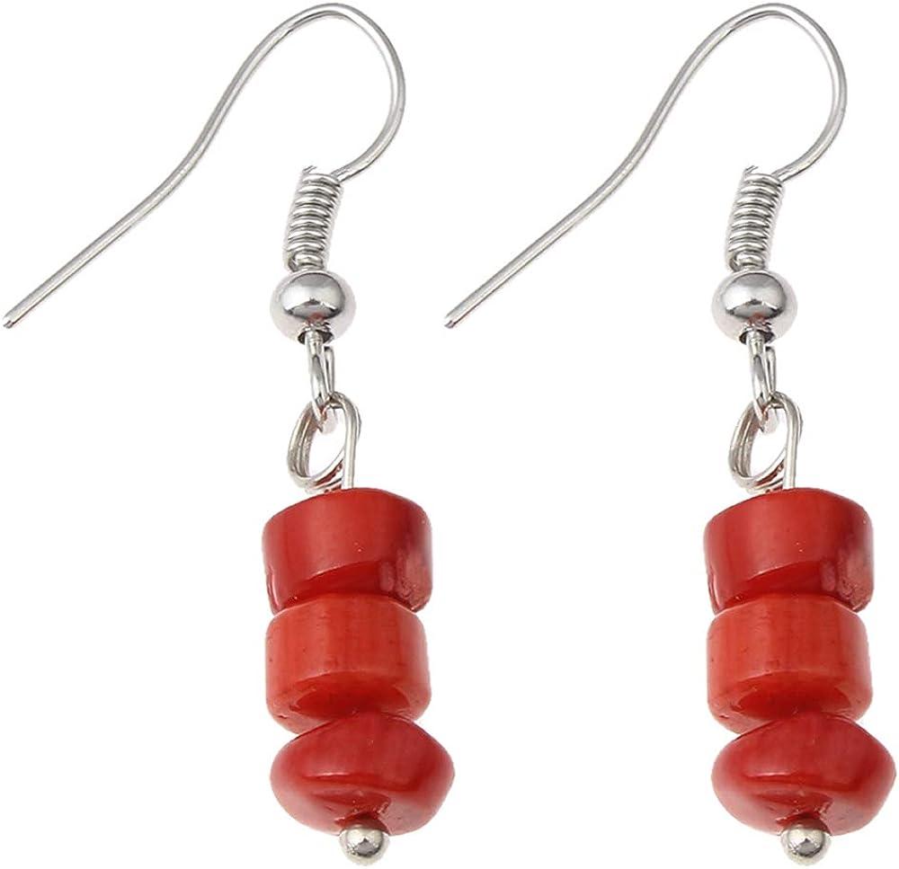 TreasureBay Pendientes colgantes de coral rojo natural para mujeres y niñas.