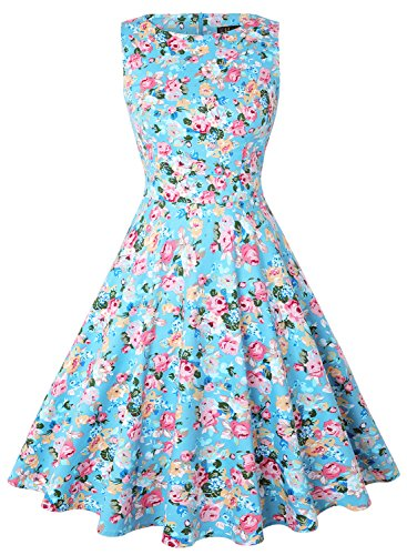 - IHOT Vintage Tea Dress 1950's Floral Spring Garden Retro Swing Prom Party Cocktail Dress for Women