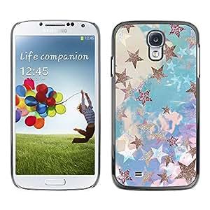 TopCaseStore / la caja del caucho duro de la cubierta de protección de la piel - Glitter Clouds Blue Purple - Samsung Galaxy S4 I9500