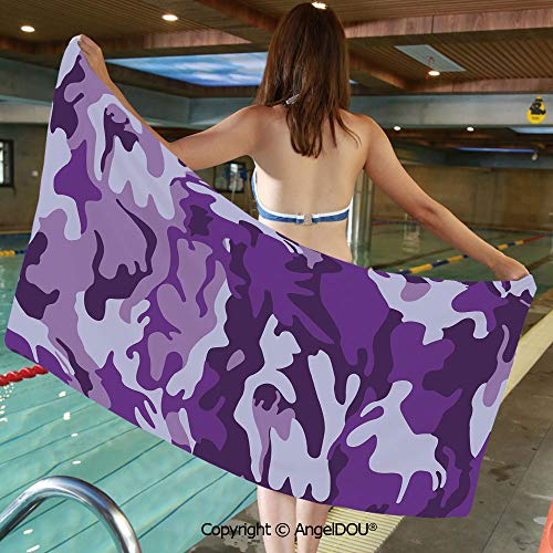 AngelDOU Soft Custom Creative Microfiber Towels Vibrant Color Abstract Style Splashes Design Army Military Pattern Hunting Decorative for Travel Beach Face Towel.W31.4xL63(inch)