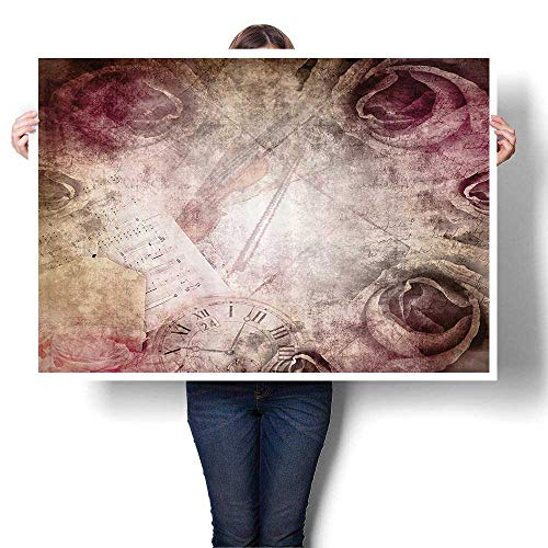 SCOCICI1588 Canvas Print Wall Art Grunge Style Vintage Inspired Rose Retro Artful Elements Violin Time Music Artwork for Wall Decor,24
