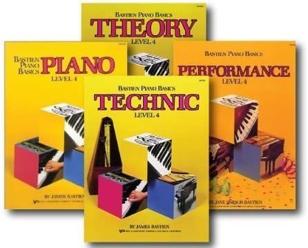 and Performance Books Technic Bastien Piano Basics Level 4 Includes Level 4 Piano Theory Four Book Set