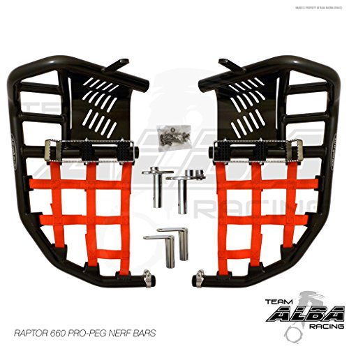Racing Pro Peg Nerf Bars - Yamaha Raptor 660 YFM 660R (2001-2005) Propeg Nerf Bars Black w/Red Net