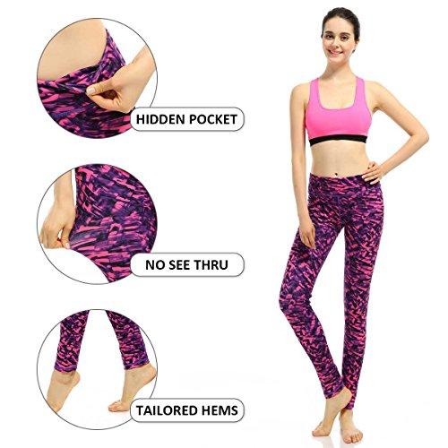 Souteam Women's Workout Leggings High Waist Stretch Yoga Pants, Watercolor Pattern