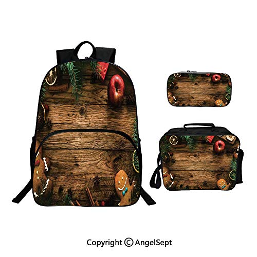 Backpack With Lunch Bag Pencil Bag Three-piece,Gingerbread Man Gift Box Pine Cinnamon Dessert on Rustic Wood Theme Brown Green,For Girls Water Resistant Colorful Christmas Gifts