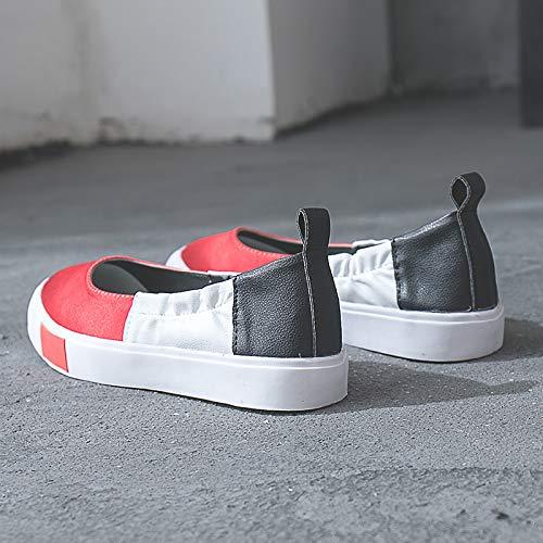 de Plano Punta para Zapatos Zapatos Satin Rojo Sneakers Mujer Talón amp; Red ZHZNVX Summer Comfort Spring Estrecha Caminar Verde fwqp55