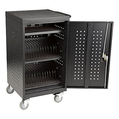 "Fat Catalog ALT-ADN1008-SO 30 Bay Laptop/Tablet Storage Charging Cart, Assembled, 35"" Height, 22 3/8"" Width, 22"" Length, Black"