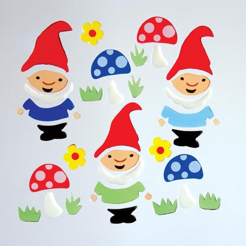 Gnomes Sticker - Design Ideas GelGems Flower Themed Gel Window Clings (Garden Gnomes, Large Bag)