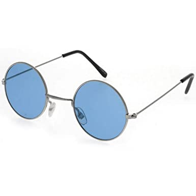 c06c89a76 Dervin Gandhi Round Shape Retro Silver-Blue UV Protection Sunglasses Shades/Frame  For Men & Women (Blue Lens): Amazon.in: Clothing & Accessories