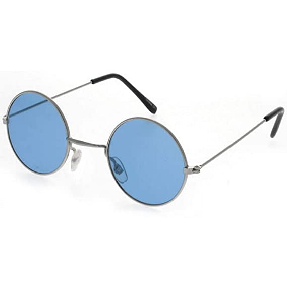 ab24bf25372 Dervin Gandhi Round Shape Retro Silver-Blue UV Protection Sunglasses Shades  Frame For Men   Women (Blue Lens)  Amazon.in  Clothing   Accessories