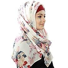 MyBatua White Floral Print Georgette Hijab,Scarves,Muslim Women Head wear HJ-057 (Rectangular(50*180 cm))