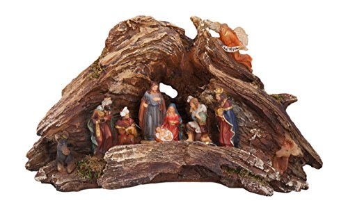 Stunning Lighted Wood Knot Manger Tabletop Christmas Nativity Scene -