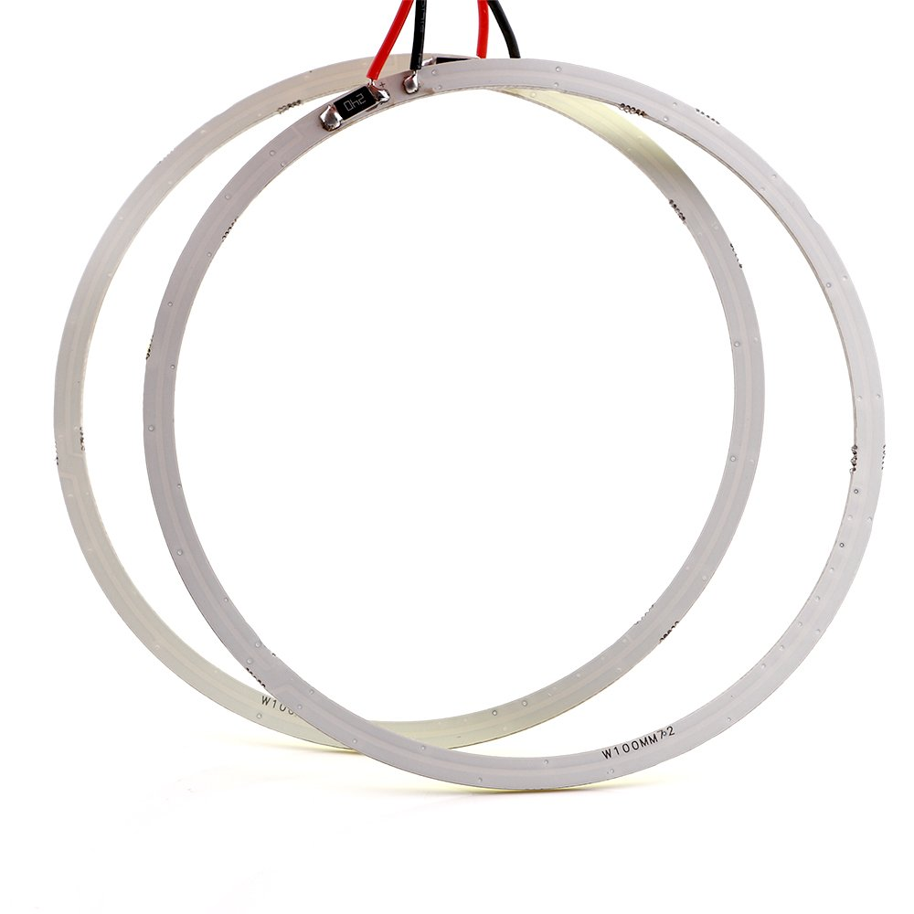 Qasim 100MM 72SMD COB LED Angel Eyes Headlight Halo Ring Warning Lights 12V 24V DC White Pack of 2PCS