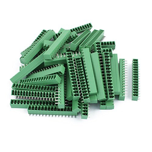 EbuyChX 50pcs AC300V 8A 2EDGR 3.81mm Pitch 15P Right Angle Needle Upuan Plug-in PCB Terminal Block Connector