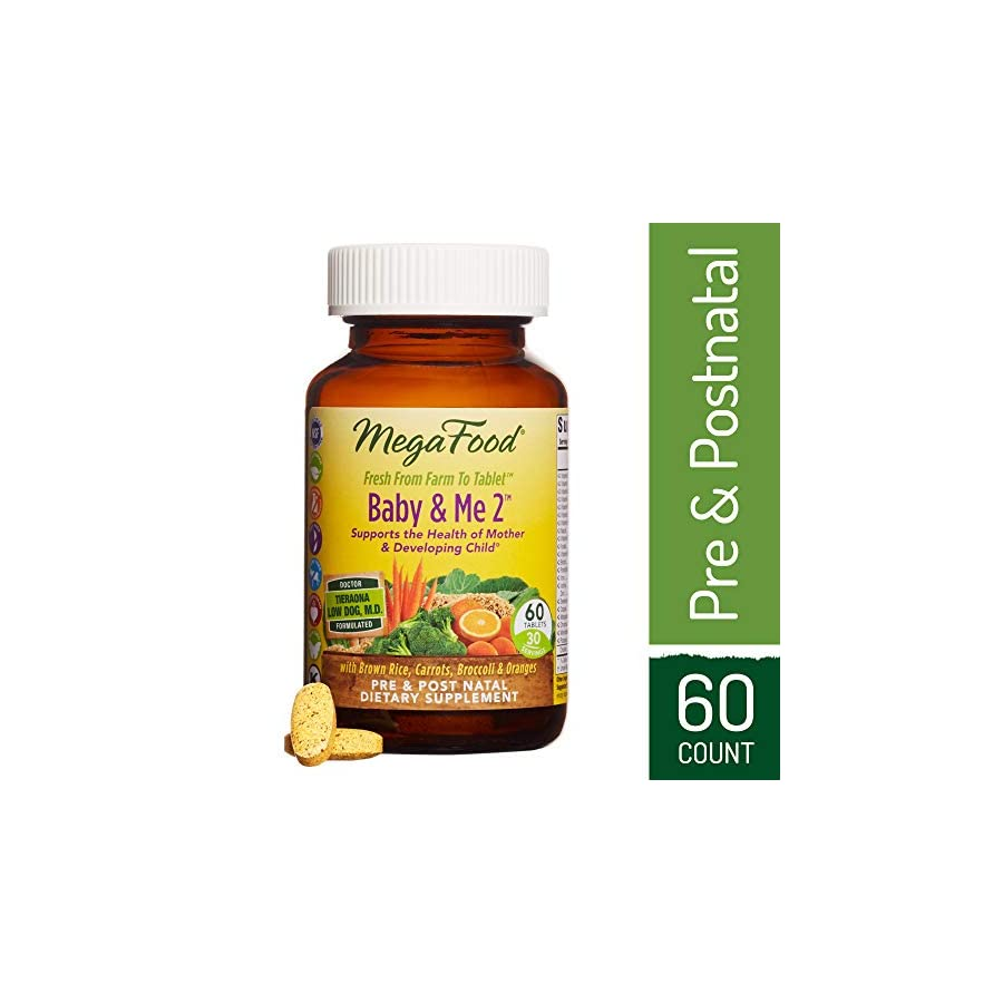 MegaFood Baby & Me 2, Twice Daily Prenatal and Postnatal Supplement to Support Healthy Pregnancy, Development, and Bones for Mother and Child, Herb Free, Vegetarian, Gluten Free, Non GMO, 60 Tablets