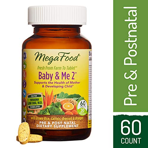 2, Twice Daily Prenatal and Postnatal Supplement to Support Healthy Pregnancy, Development, and Bones for Mother and Child, Herb-Free, Vegetarian, Gluten-Free, Non-GMO, 60 Tablets ()