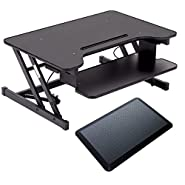 "32"" Platform Height Adjustable Standing Desk Riser Removable Keyboard Tray With 1 pcs Standing Desk Anti Fatigue Mat"