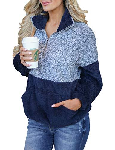 (MEROKEETY Women's Long Sleeve Contrast Color Zipper Sherpa Pile Pullover Tops Fleece with Pocket Navy)
