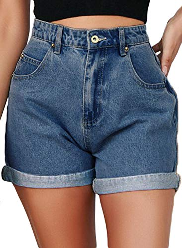 Dokotoo Womens Plus Size Juniors 2019 Casual Ladies Boyfriend Roll Up Cuffed High Waist Jeans Shorts Folded Hem Stretchy Plain Wash Denim Jeans Shorts Blue XX-Large