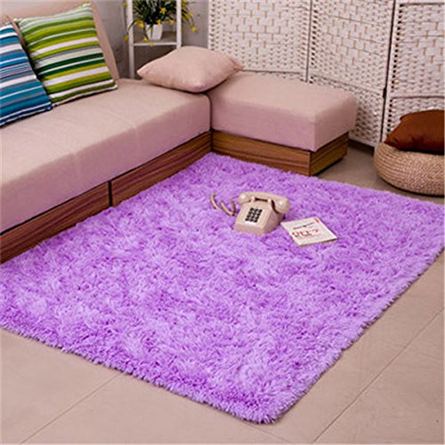 Bath Rugs Fluffy Rugs Anti-skid Shaggy Area Rug Dining Room Home Bedroom Carpet Floor Mat Purpie