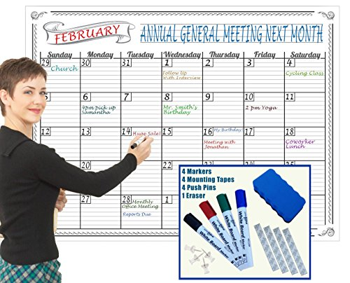 Giants Wall Calendar (Jumbo Dry Erase Wall Calendar 36 x 48 Inch Large Undated Laminated Big Erasable Monthly Planner For Organizing Home Classroom Office Bonus Eraser 4 Markers and Mounting Tapes REUSABLE PLASTIC FILM)
