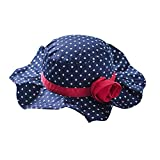 Toubaby Kid Girls Flower Sun Hats Bucket Hat with Big Fold-up Brim Blue 0-6t