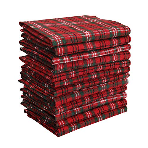 DG Collections Dinner Napkins, 100% Cotton Over Sized Kitchen Napkins, Set of 12 Pack (18 X 18 Inch) Red & Green Plaid, with Mitered Corner and Lint Free ()