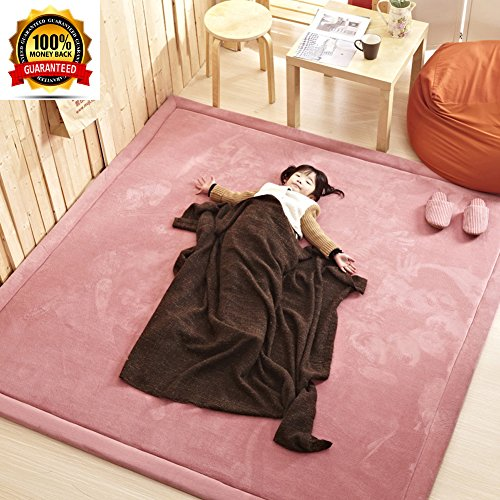 Pink Large Soft Carpet for Girl/Baby/Teen/Woman, Janpanese Tatami Mat Thicken Carpet for Living Room, Ultra Soft Coral Velvet Baby Crawling Mat, 75 by 110 - Of Mall Tucson