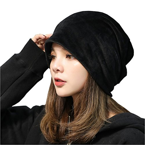 UbdehL Women's Velvet Beanies Winter Korean Fashion Hats Black One Size Fits Most
