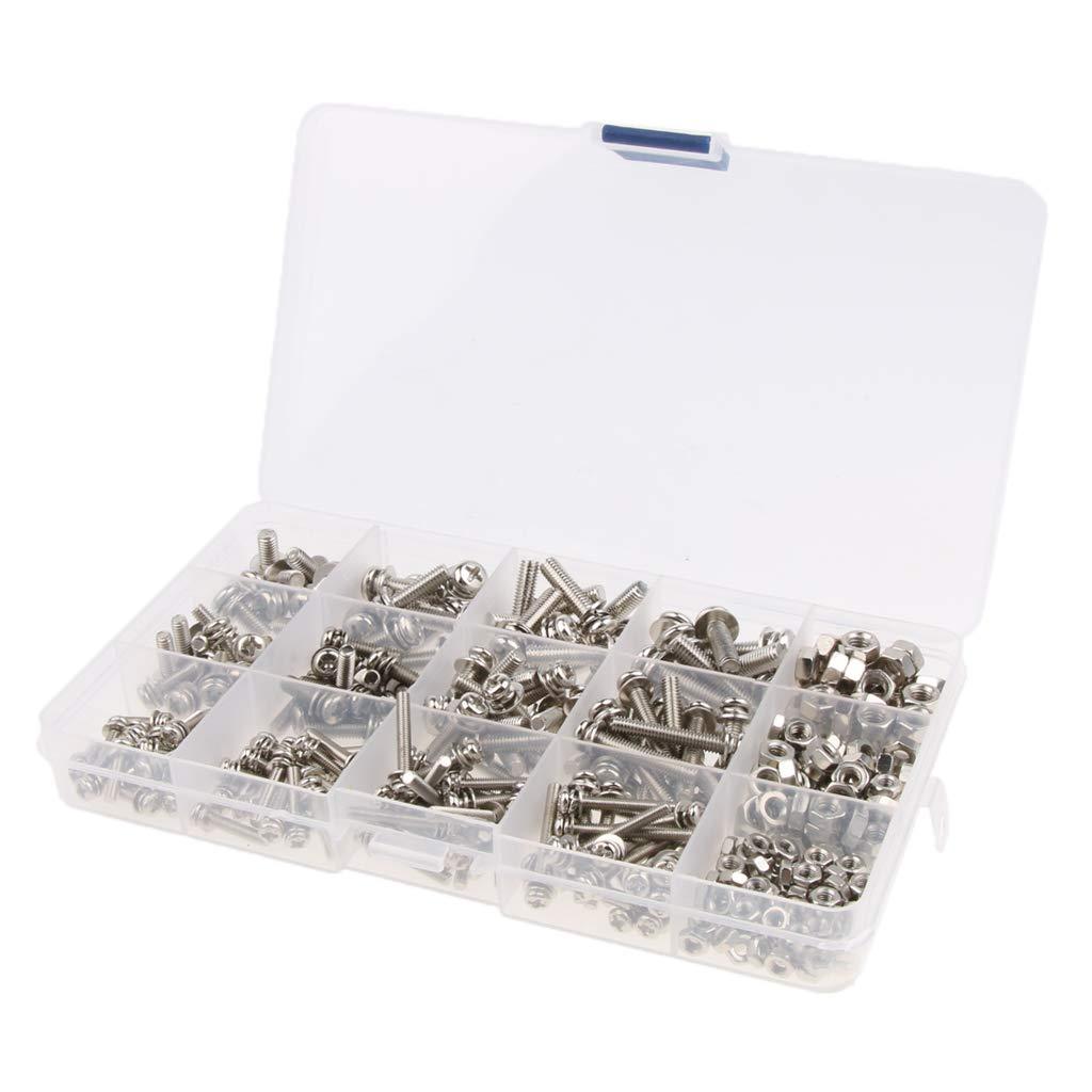 Homyl M5/4/3 Solid Steel Flat Lock Washers Screw Bolts Repair Hardware Accessories Kit Set Pack of 360