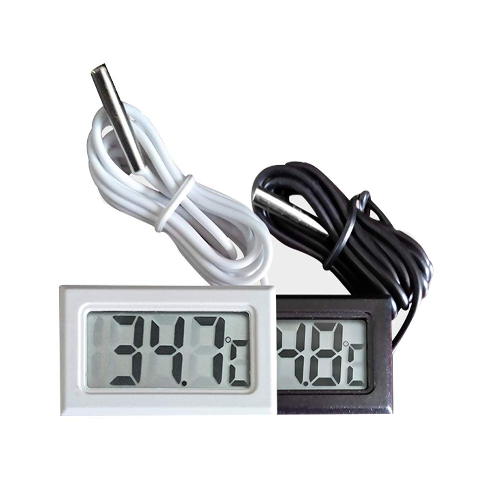 WiseField 2 Packs Electronic Digital Thermometer High Accuracy Fish Tank Freezer Thermometers Sensor/Bath/Refrigerator Temperature with Waterproof Probe