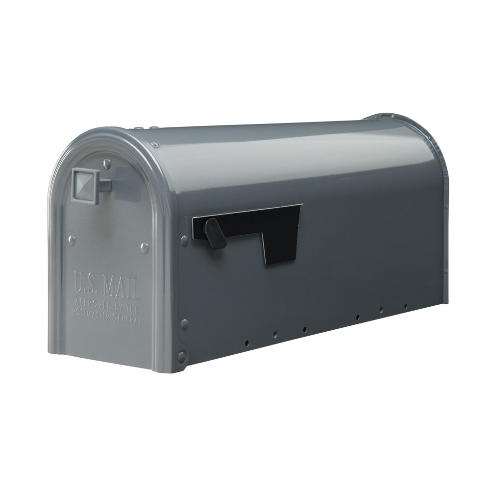 Gibraltar Mailboxes Edson Medium Capacity Galvanized Steel Gray, Post-Mount Mailbox, EM110GM0