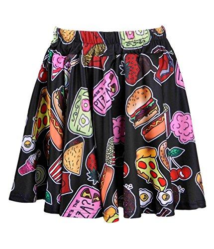ZLYC Women Girls Lovely Cute Snacks Food Novelty Print Skater Skirt Black