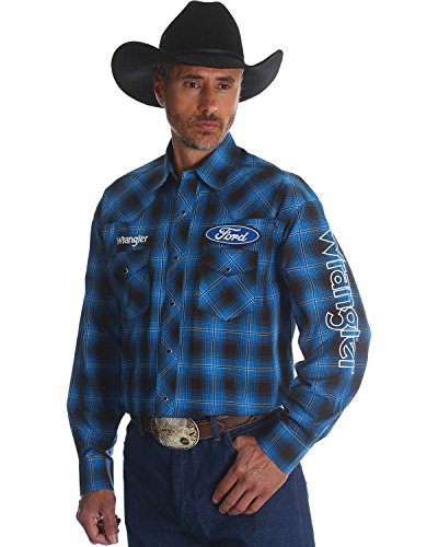 Wrangler Men's Ford Plaid Western Logo Shirt Blue X-Large (Plaid Logo Tee)
