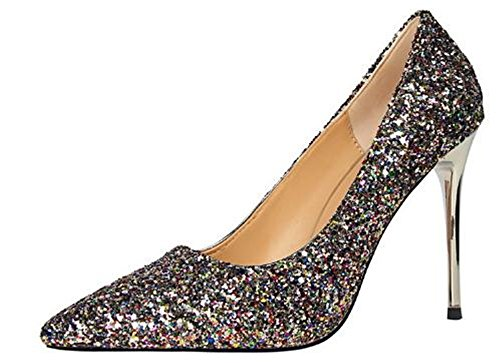 US High Wedding Colorful Women Shoes Pumps Sequins B Heel M Pointed Pumps Toe Party Cloudless 35 4 Womens 0gPqwntna