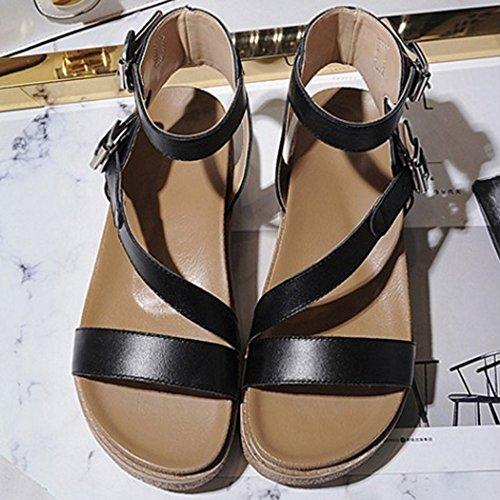 Tobillo Flatform Zapatos Abierta Sandalias Al Punta Mujer para Moda Negro COOLCEPT Sandalias XwAtTqq