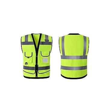 XOXO Alta Visibilidad Chaleco de Seguridad de Alta Visibilidad del botón del Bolsillo de los Hombres con Las Tiras reflexivas, Verde Fluorescente (tamaño ...