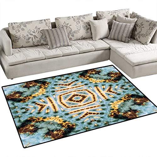Hippie Room Home Bedroom Carpet Floor Mat Close Hippie Kaleidoscope Motif Maya Clan Figures Dirt Tones Counter Culture Print Floor Mat Pattern 4'x6' Yellow Blue ()