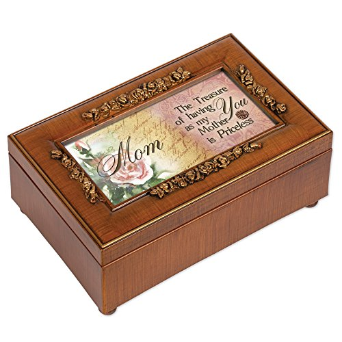 Cottage Garden Mom Woodgrain Petite Rose Music Box / Jewelry Box Plays Wind Beneath My Wings (Grain Box Music Wood Petite)