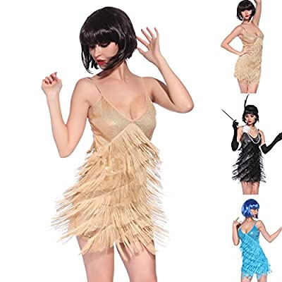 Vintage 1920s Flapper Girl Sequin Fringed Cocktail Party Dress Dance Costume