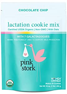 Pink Stork Lactation Cookie Mix: USDA Organic Breastfeeding Support with Oats, Chocolate Chips, 7 Galactagogues for Breast Milk Production, Makes 24 Cookies