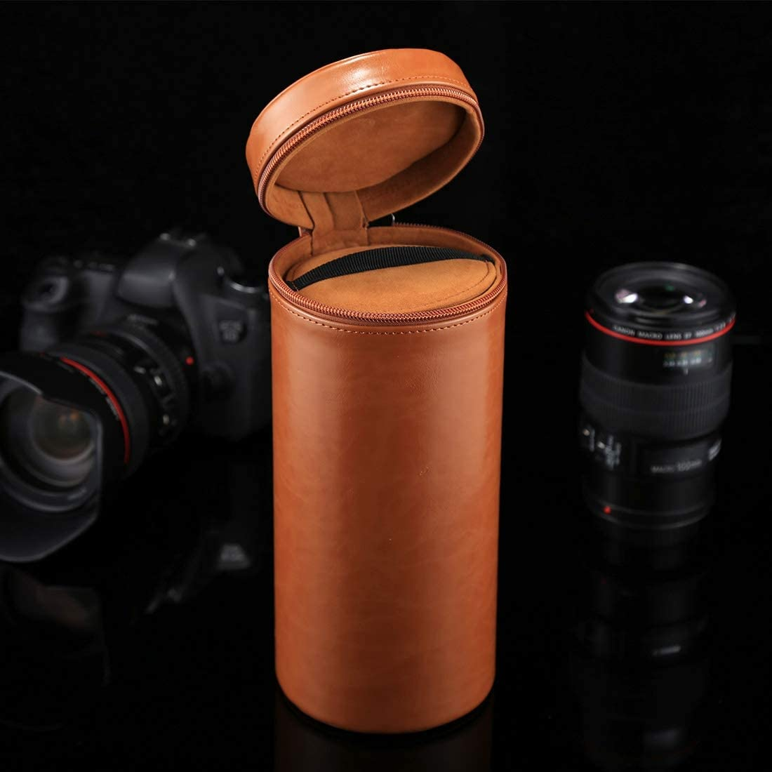 Color : Brown Soft Protective Cover Black Size: 24.510.510.5cm Goodao Extra Large Lens Case Zippered PU Leather Pouch Box for DSLR Camera Lens