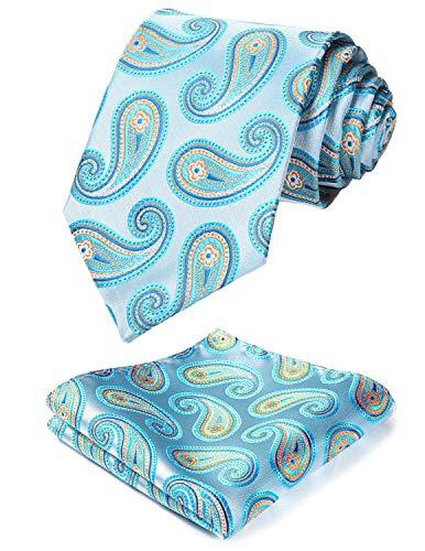 HISDERN Men's Paisley Floral Tie Handkerchief Wedding Silk Woven Classic Necktie & Pocket Square Set